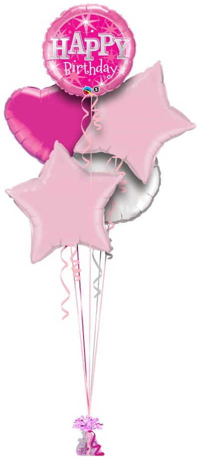Pink Birthday Bright Balloon Bunch