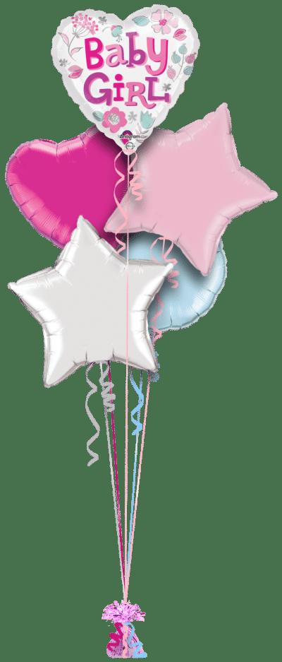 Baby Girl Heart Balloon Bunch