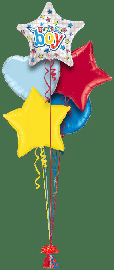 Happy Birthday Boy Star Balloon Bunch