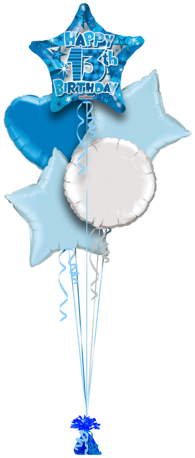 Happy 13th Bithday Star Balloon Bunch