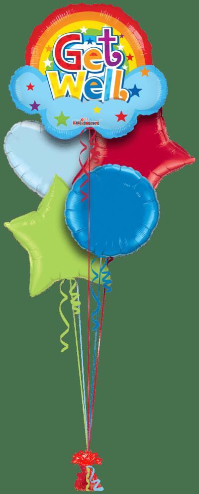 Get Well Soon Rainbow Shape Balloon Bunch