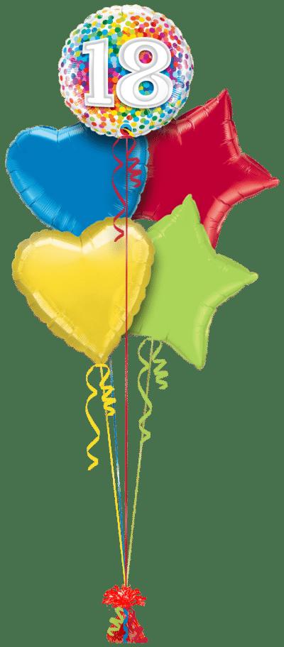 18th Rainbow Confetti Balloon Bunch