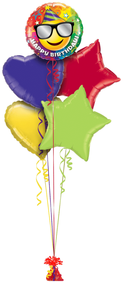 Birthday Smiley Balloon Bunch