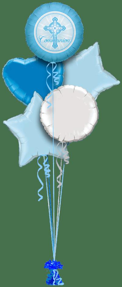 1st Communion Blue Balloon Bunch