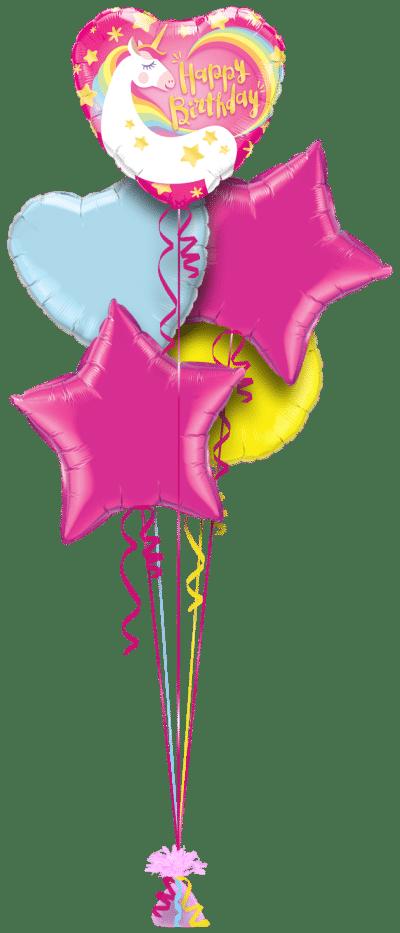 Happy Birthday Magical Unicorn Balloon Bunch