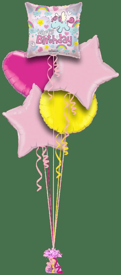 Happy Birthday Unicorns and Rainbows Balloon Bunch