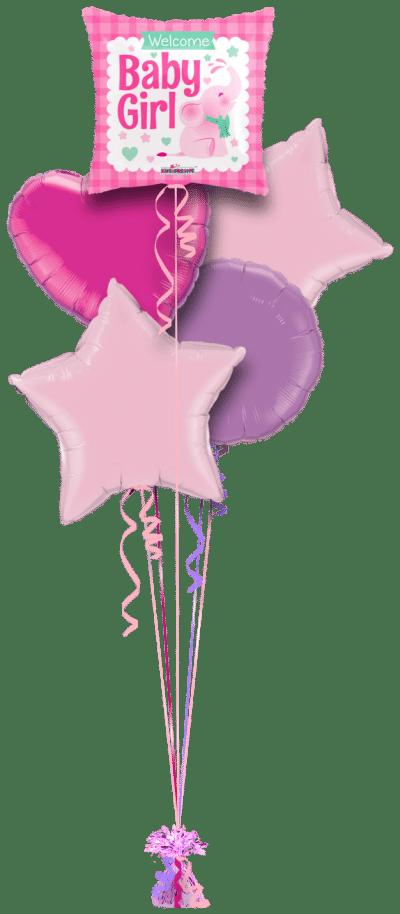 Elephant Welcome Baby Girl Balloon Bunch