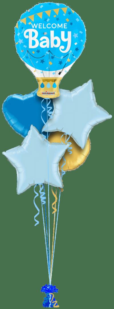 Welcome Baby Boy Hot Air Balloon Balloon Bunch