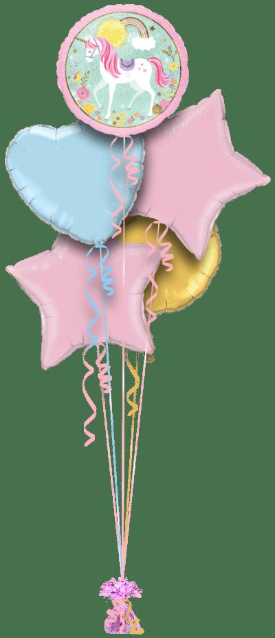 Magical Unicorn Rainbows and Flowers Balloon Bunch
