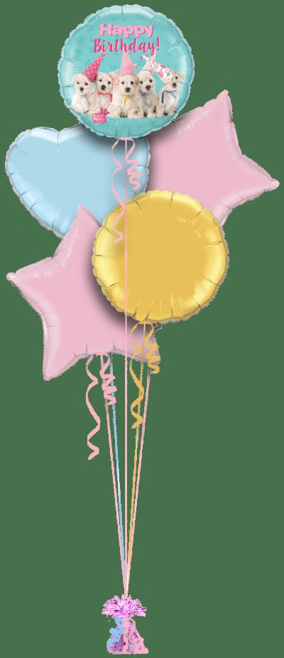 Birthday Puppies Balloon Bunch