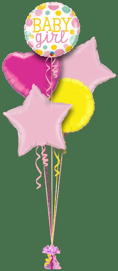 Baby Girl Big Dots Balloon Bunch