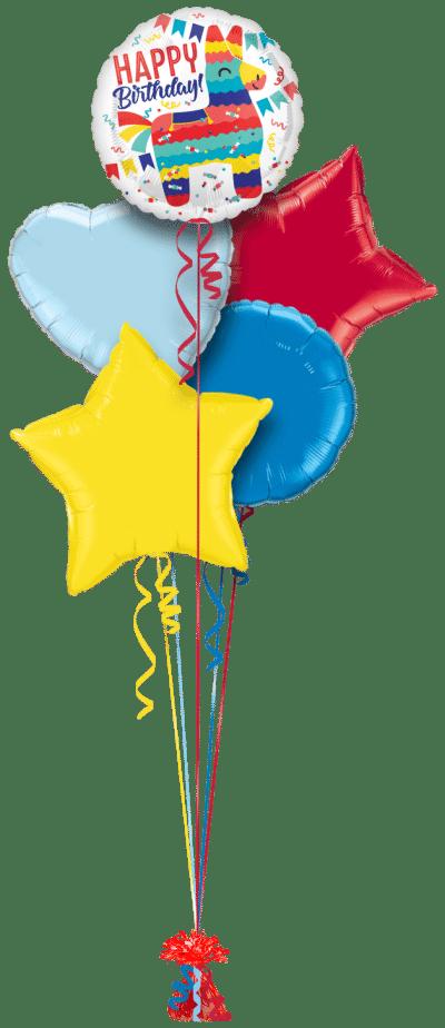 Birthday Pinata Party Balloon Bunch