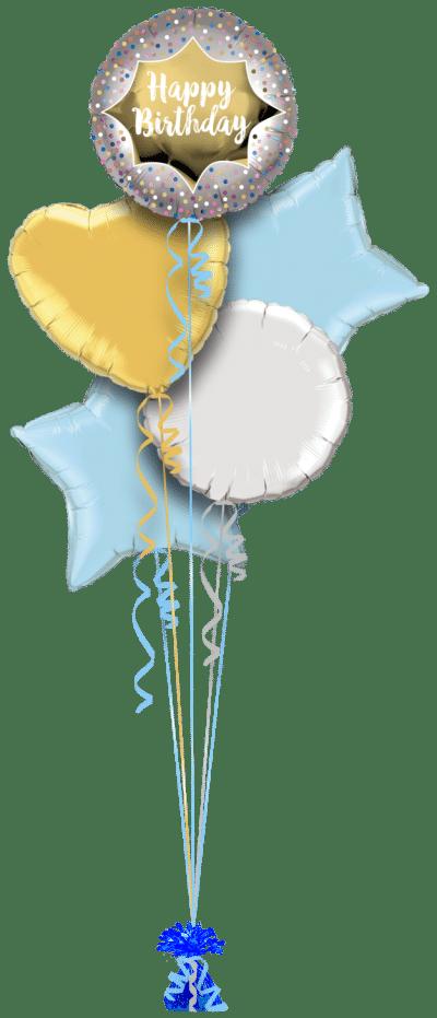 Happy Birthday Satin Gold Burst Balloon Bunch