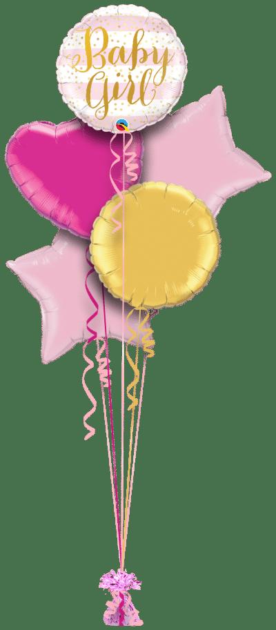 Baby Girl Pink Stripes Balloon Bunch
