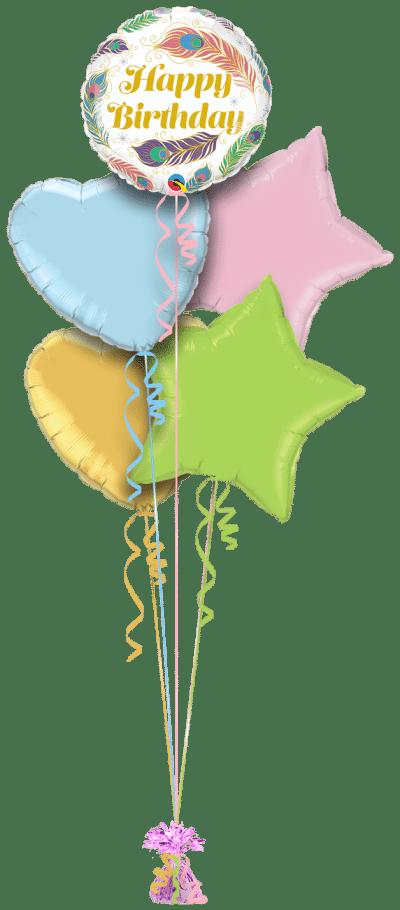 Birthday Peacock Feathers Balloon Bunch