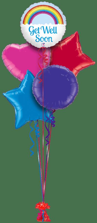 Get Well Soon Rainbow Balloon Bunch