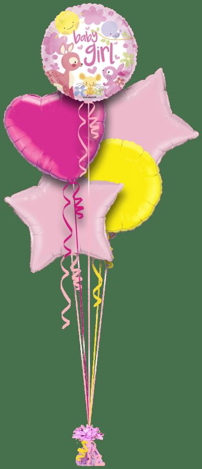 Baby Girl Woodland Animals Balloon Bunch