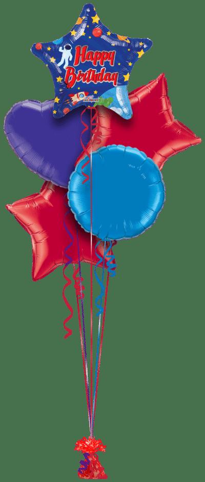 Birthday Spaceman Star Balloon Bunch