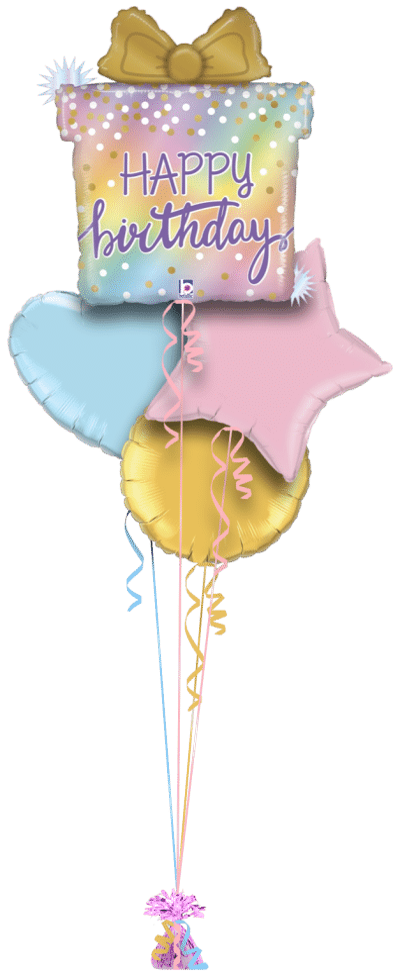 Opal Birthday Present Balloon Bunch