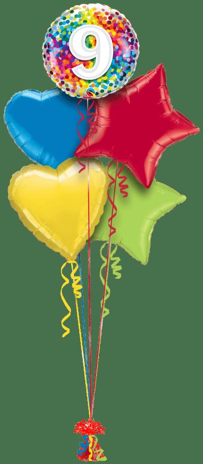 9 Rainbow Confetti Balloon Bunch
