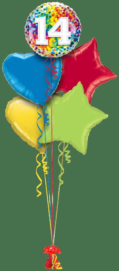 14 Rainbow Confetti Balloon Bunch