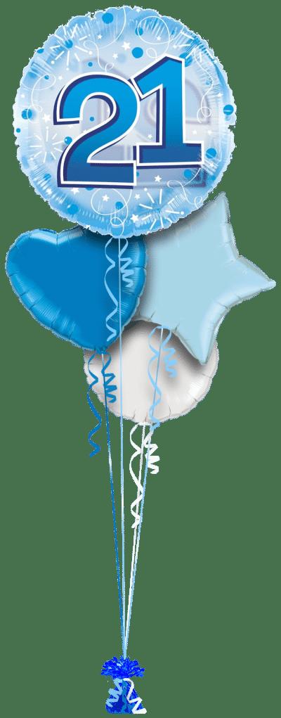 Jumbo Blue Streamers 21st Birthday Balloon Bunch
