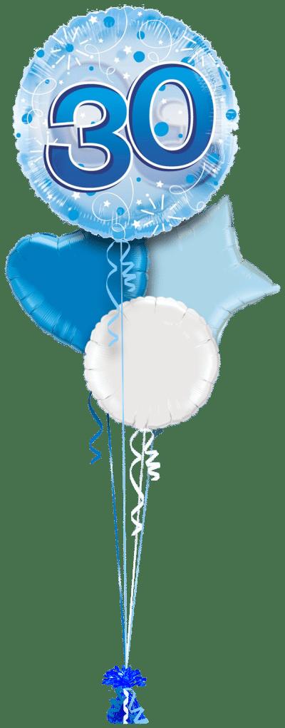 Jumbo Blue Streamers 30th Birthday Balloon Bunch