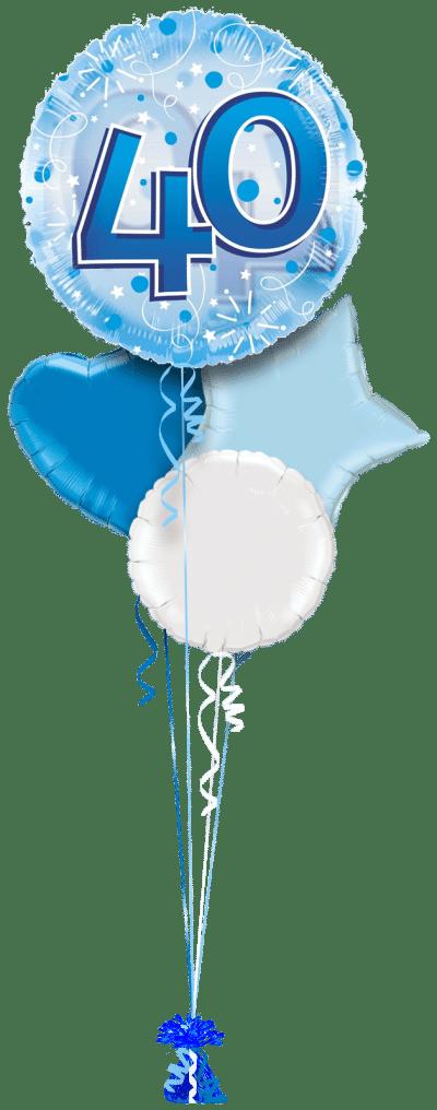 Jumbo Blue Streamers 40th Birthday Balloon Bunch