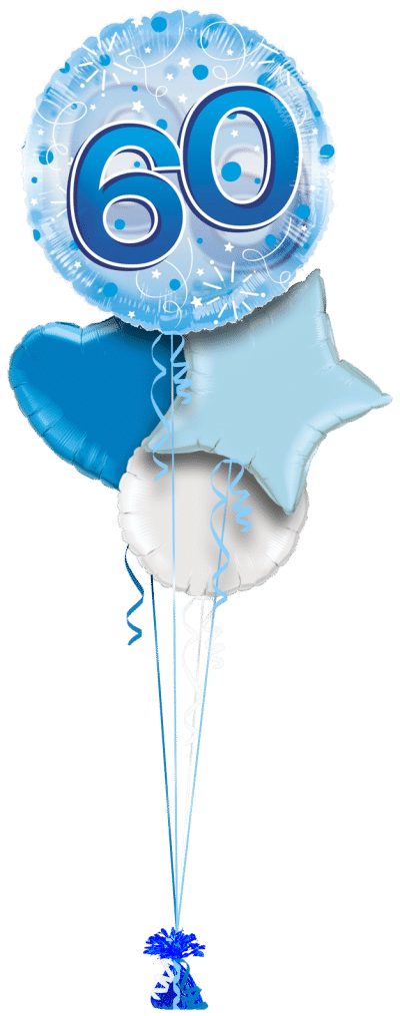 Jumbo Blue Streamers 60th Birthday Balloon Bunch