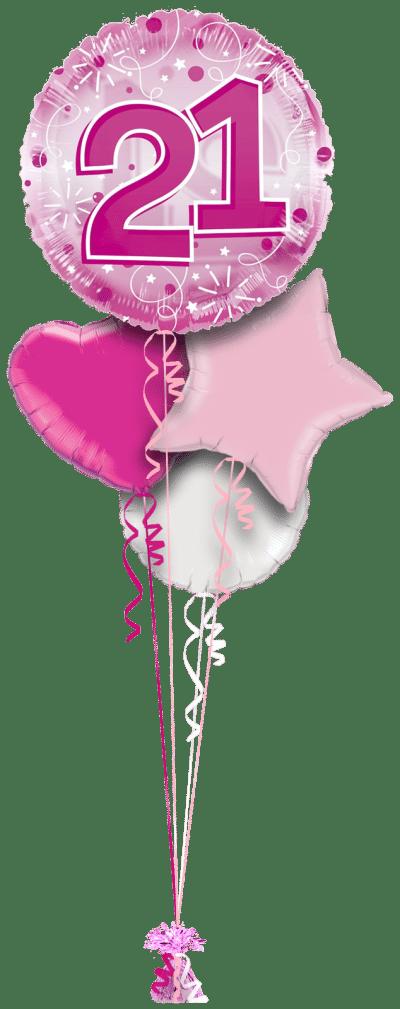 Jumbo Pink Streamers 21st Birthday Balloon Bunch