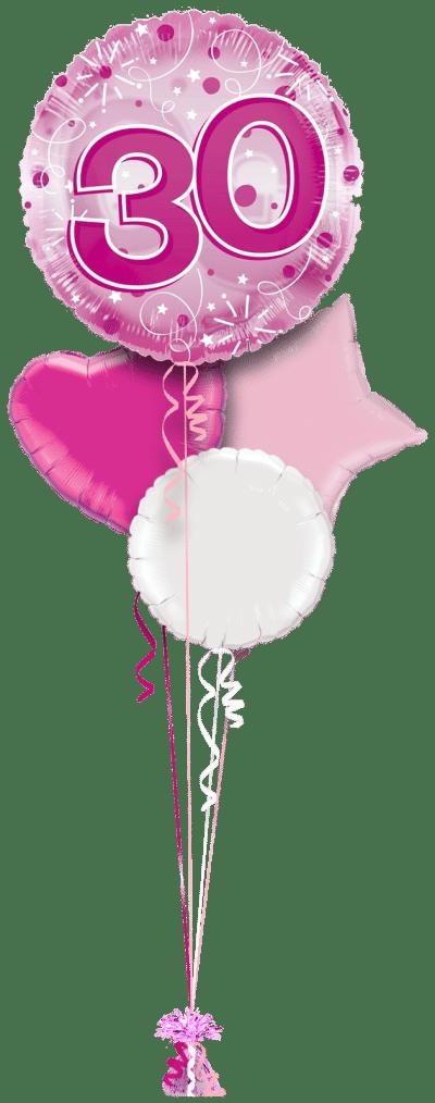 Jumbo Pink Streamers 30th Birthday Balloon Bunch
