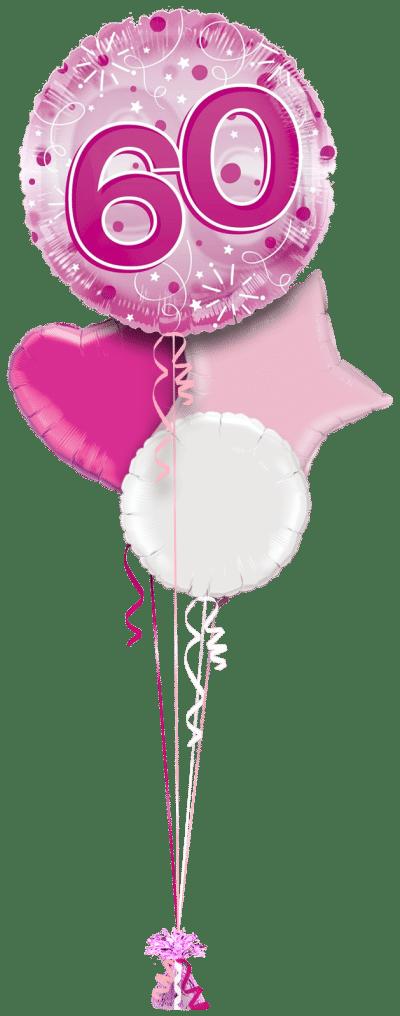 Jumbo Pink Streamers 60th Birthday Balloon Bunch
