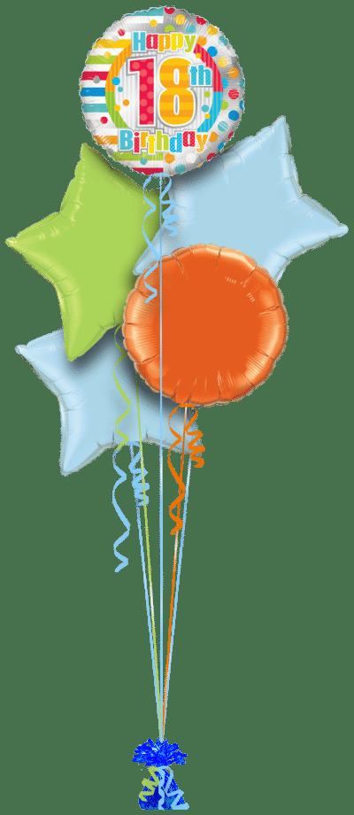 Colourful 18th Birthday Balloon Bunch