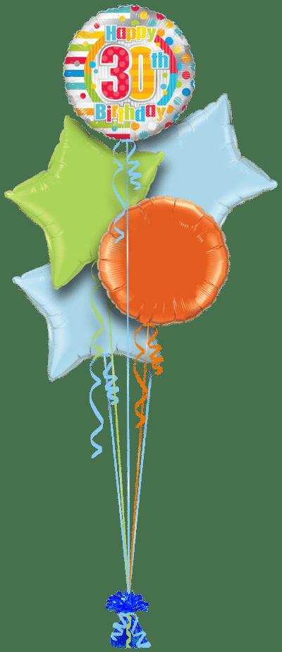 Colourful 30th Birthday Balloon Bunch