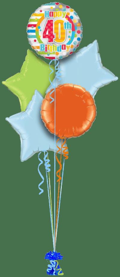 Colourful 40th Birthday Balloon Bunch