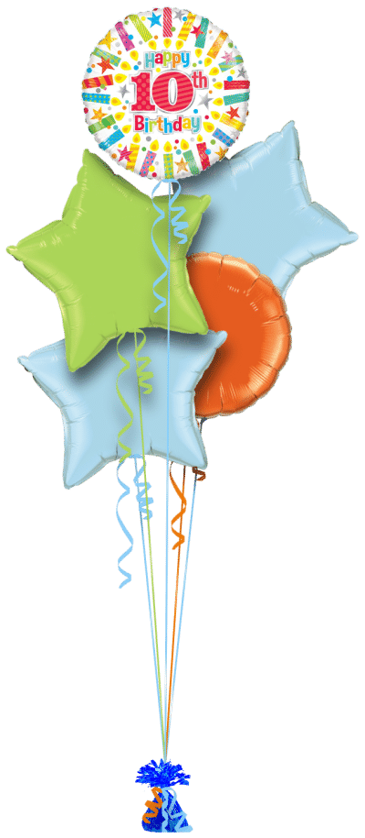 Colourful 10th Birthday Balloon Bunch