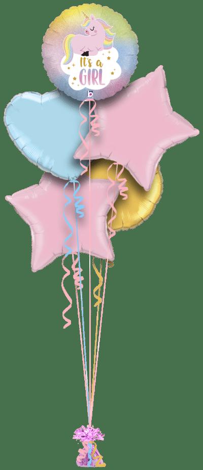 Its a Girl Unicorn Balloon Bunch