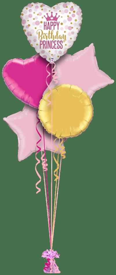 Happy Birthday Princess Dots Balloon Bunch