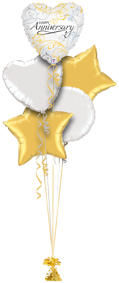 Happy Anniversary Heart Balloon Bunch