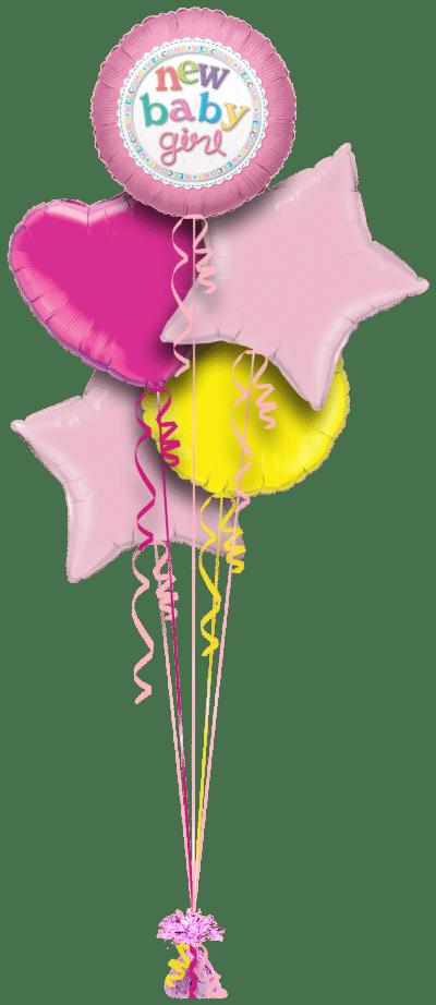 New Baby Girl Balloon Bunch