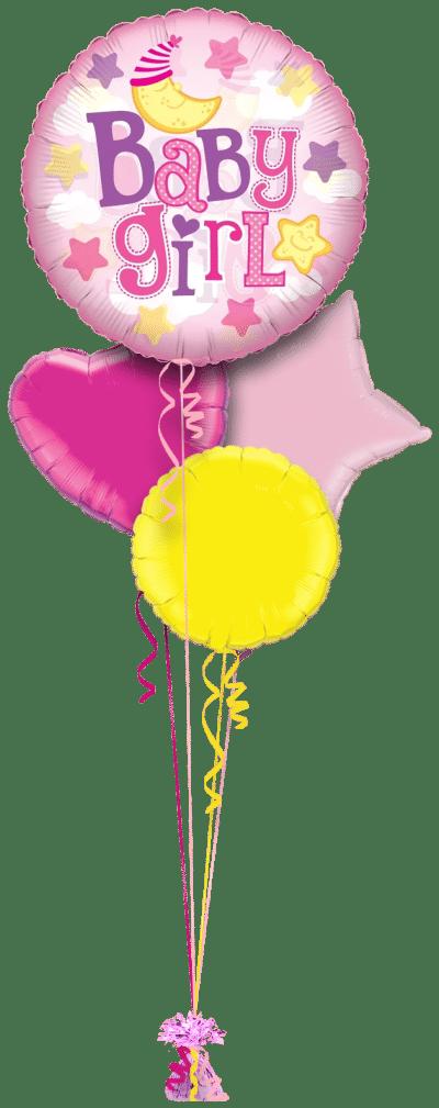 Jumbo Baby Girl Balloon Bunch