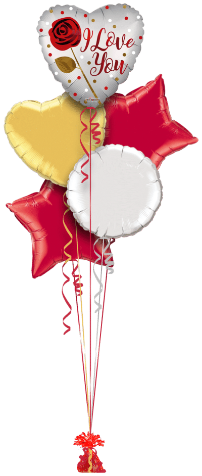 Love You Rose Balloon Bunch