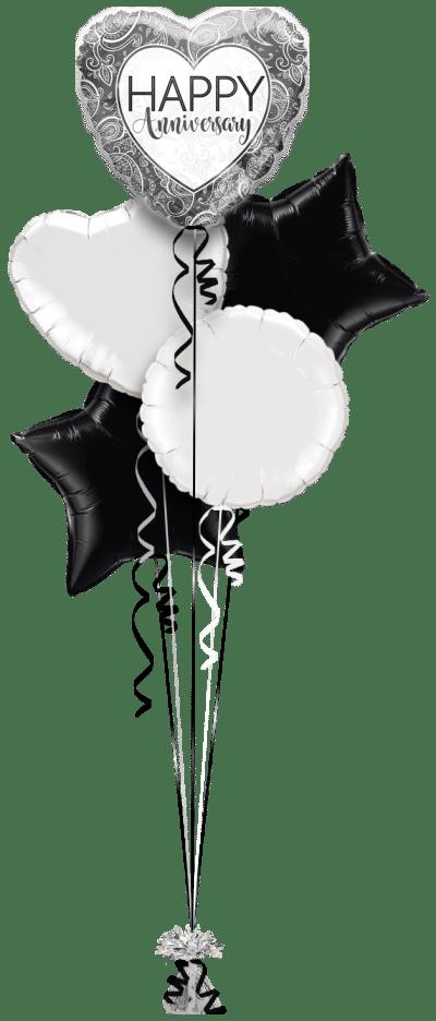 Anniversary Silver Heart Balloon Bunch