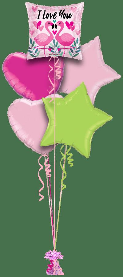 I Love You Flamingos Balloon Bunch