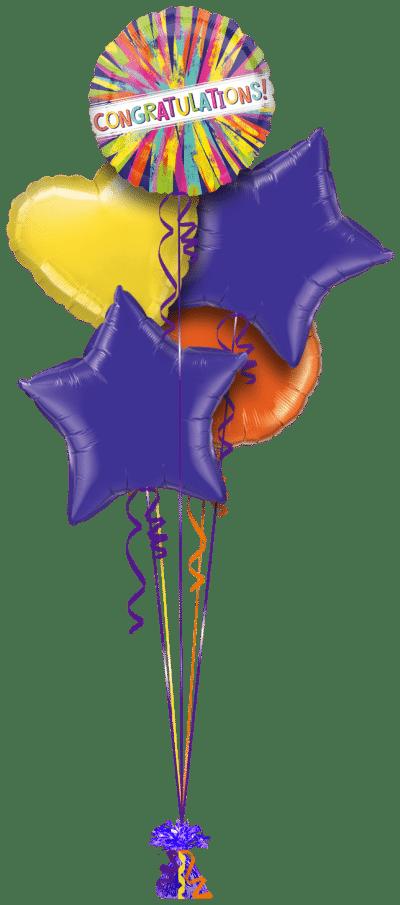 Congratulations Colour Burst Balloon Bunch