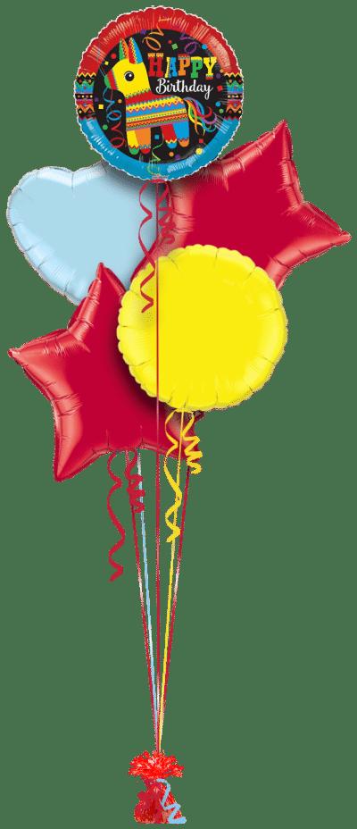 Happy Birthday Pinata Balloon Bunch
