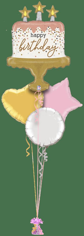 Birthday Sparkle Cake Balloon Bunch