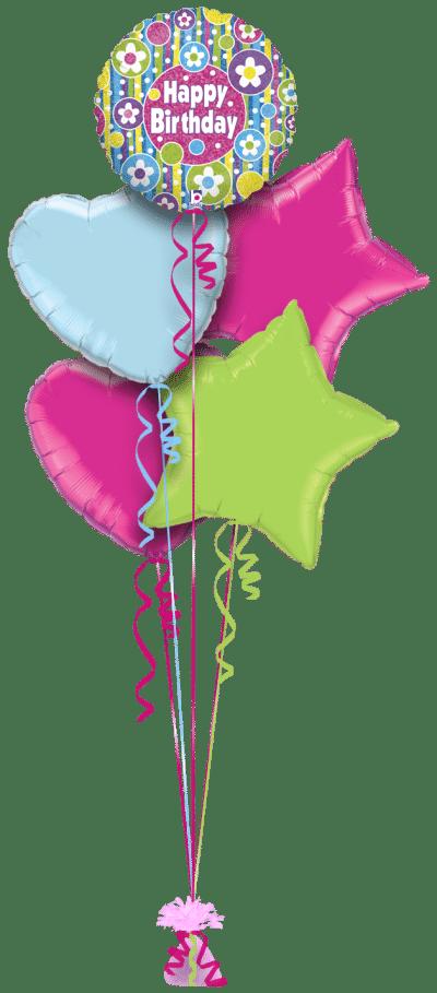 Birthday Bright Flowers Balloon Bunch