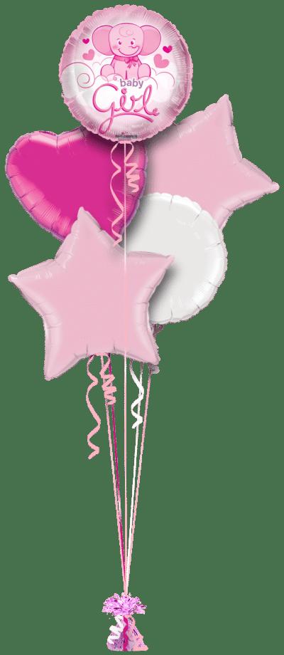 Cute Baby Girl Elephant Balloon Bunch