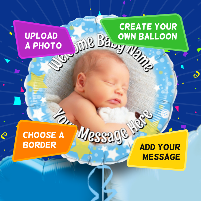 An example of a New Baby photo balloon